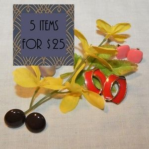 !!5 for $25!! Set of 4 pairs 80s vintage earrings!